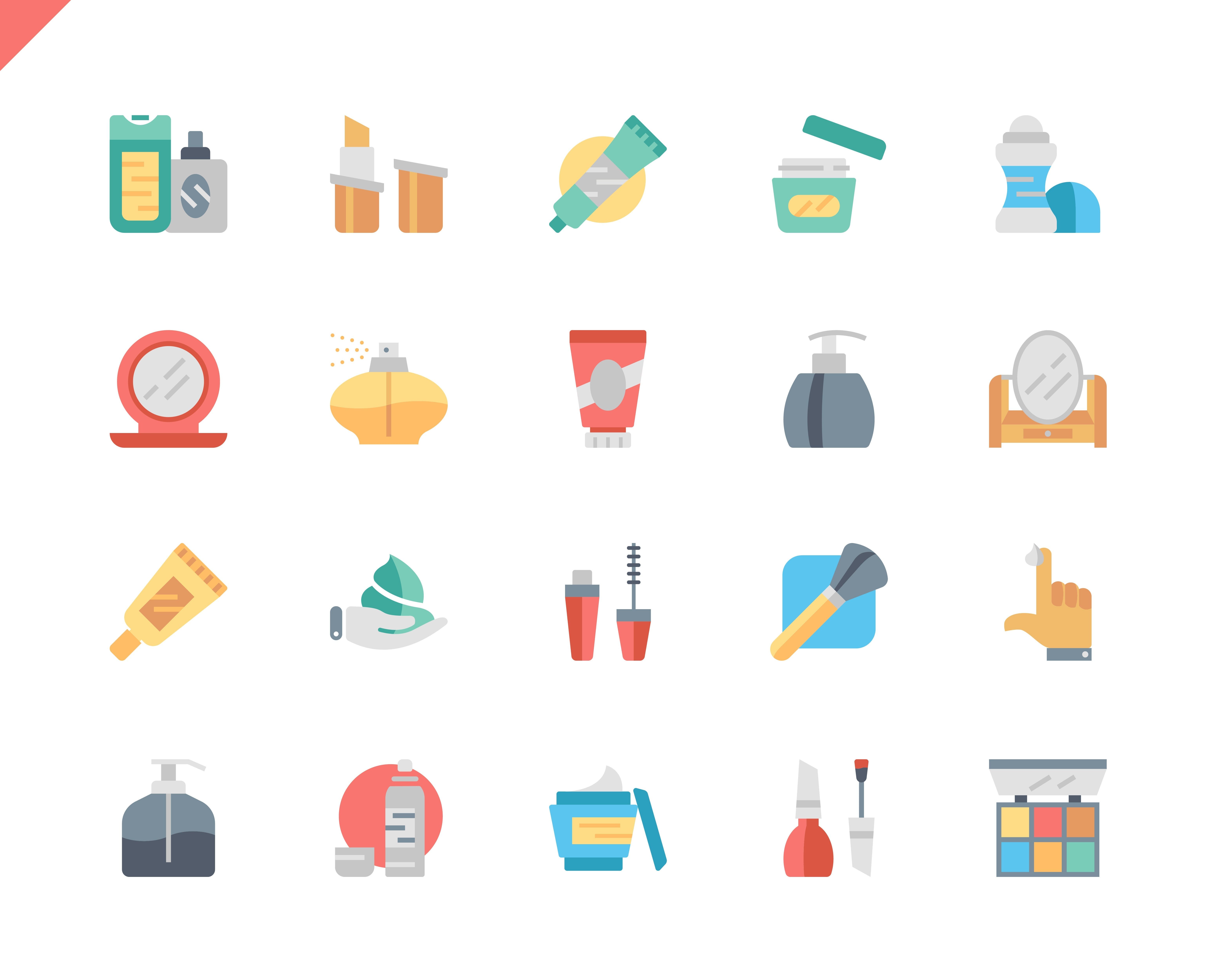 Simple Set Cosmetics Flat Icons for Website and Mobile Apps. Contains such Icons as Makeup Brush, Deodorant, Cream Bottle, Lipstick, Beauty. 48x48 Pixel Perfect. Vector illustration.