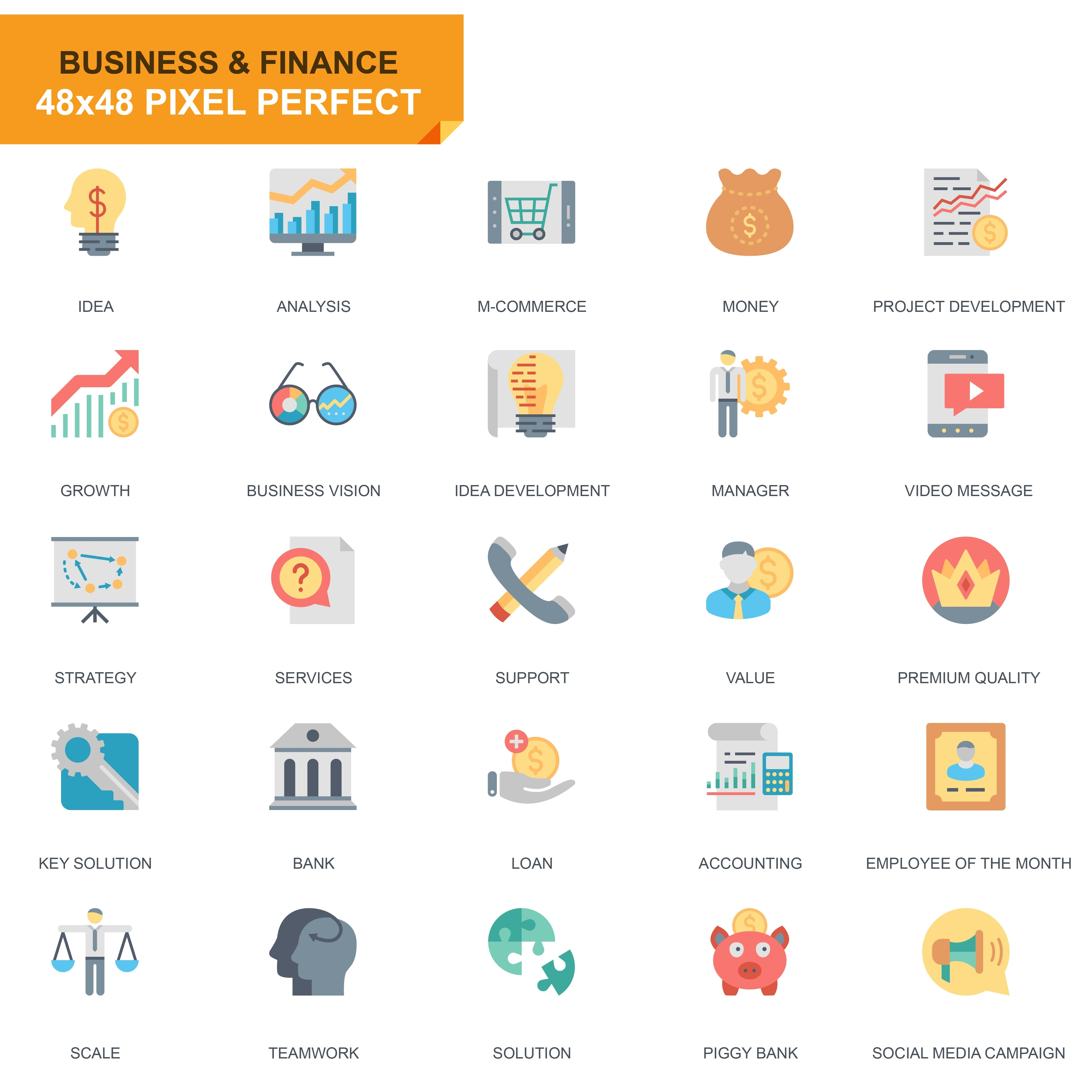 625 Flat Business Icons - just $24 - 5 2