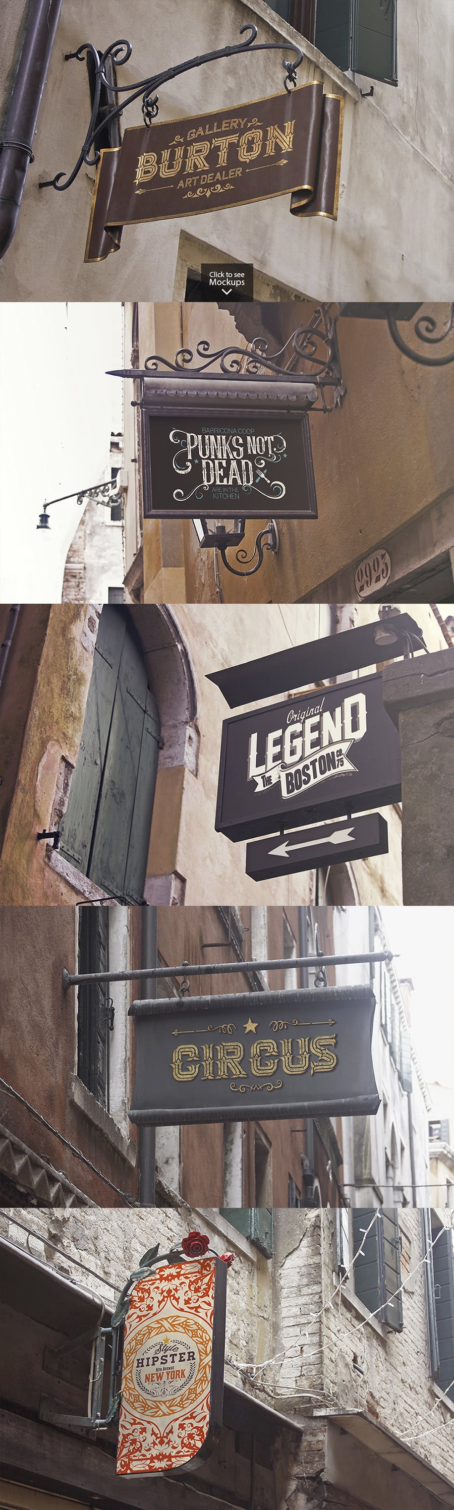 15 Signboards in Venecia Mockups