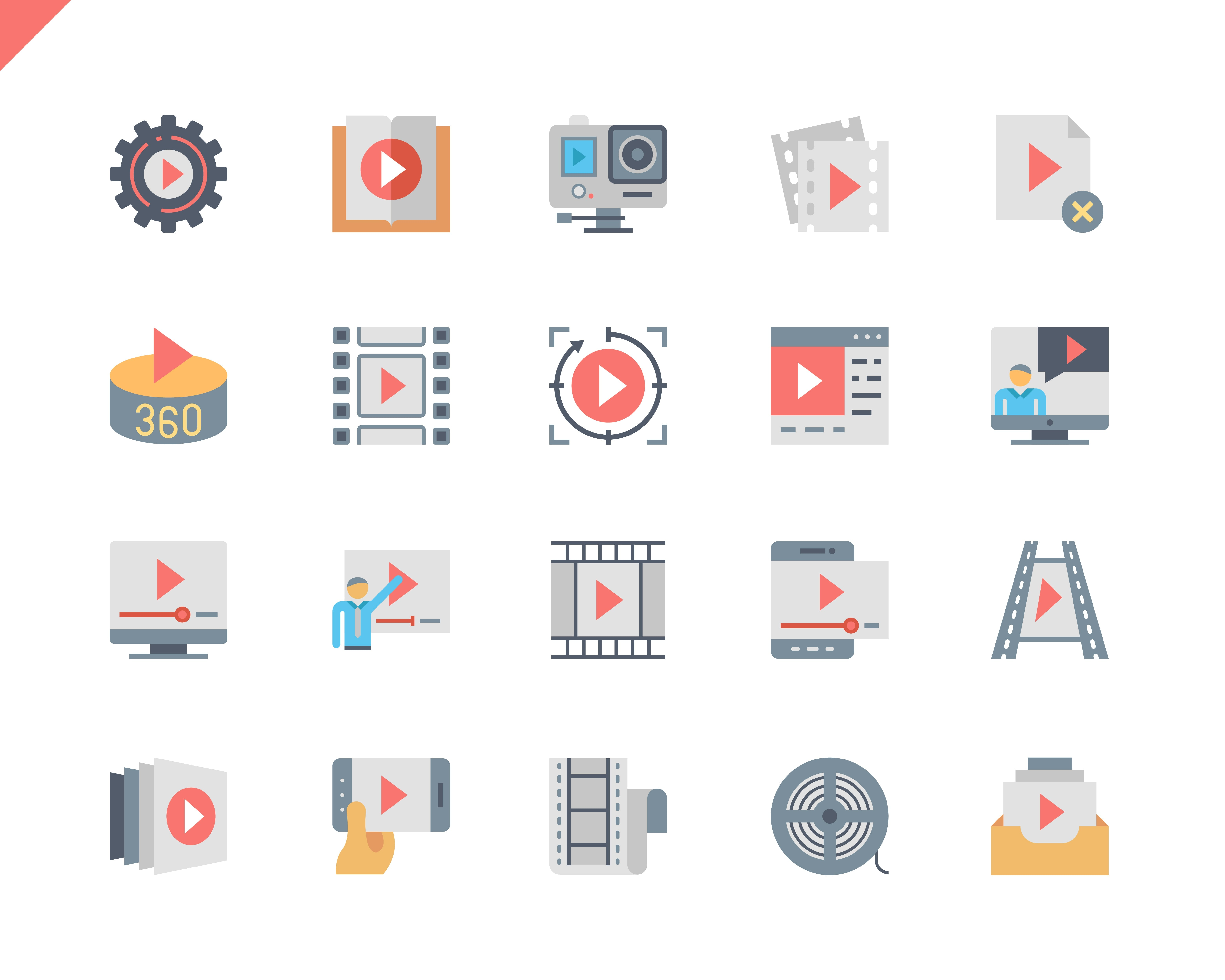 Simple Set Video Content Flat Icons for Website and Mobile Apps. Contains such Icons as Presentation, Stream, Player, Camera, Movie. 48x48 Pixel Perfect. Vector illustration.