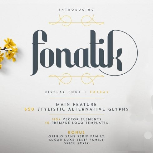 Fonatik Display Font + Book of Wonders - just $19 - 600 8 490x490