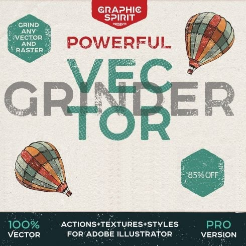 Vector GRINDER Toolkit: Retro Actions and Textures - just $19 - 603 5 490x490