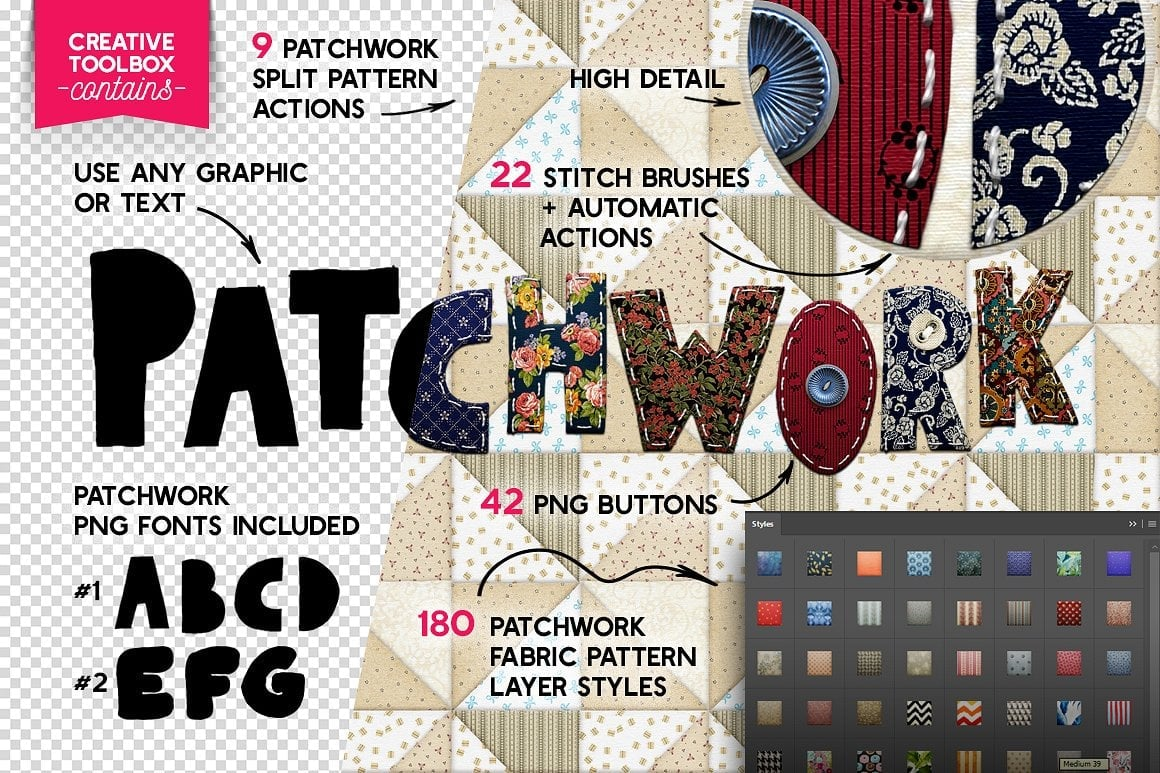Photoshop TOOLKIT: PATCHWORK Effect - $19 ONLY - patchwork effect photoshop toolkit view2