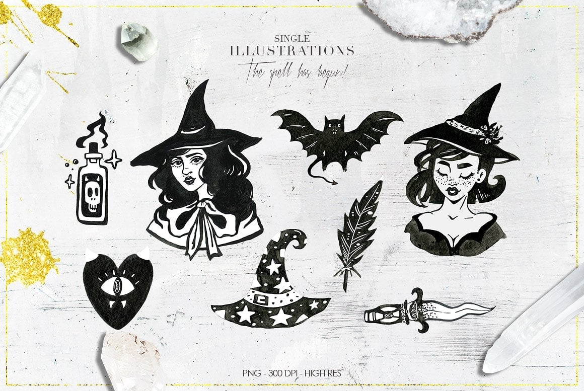 Luxury Witchcraft: 109 Graphic Elements - $12