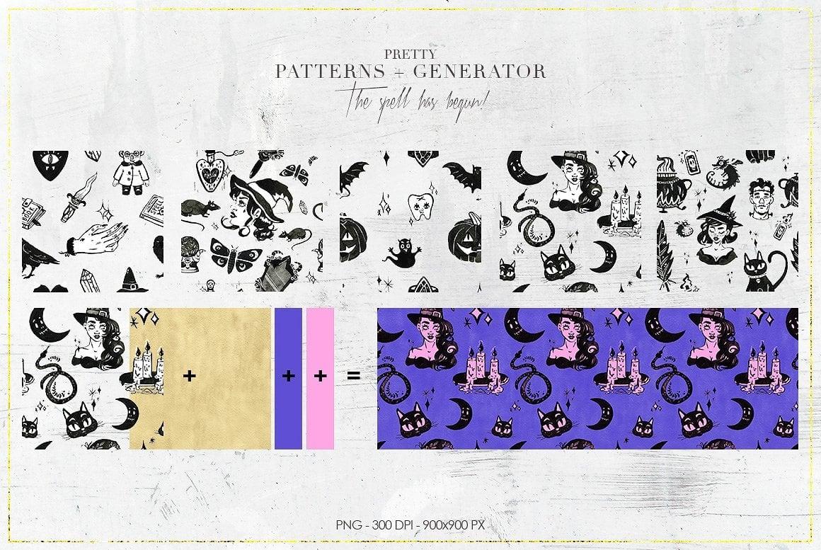 Luxury Witchcraft: 109 Graphic Elements - $12 - witchcraft prev 13 pattern