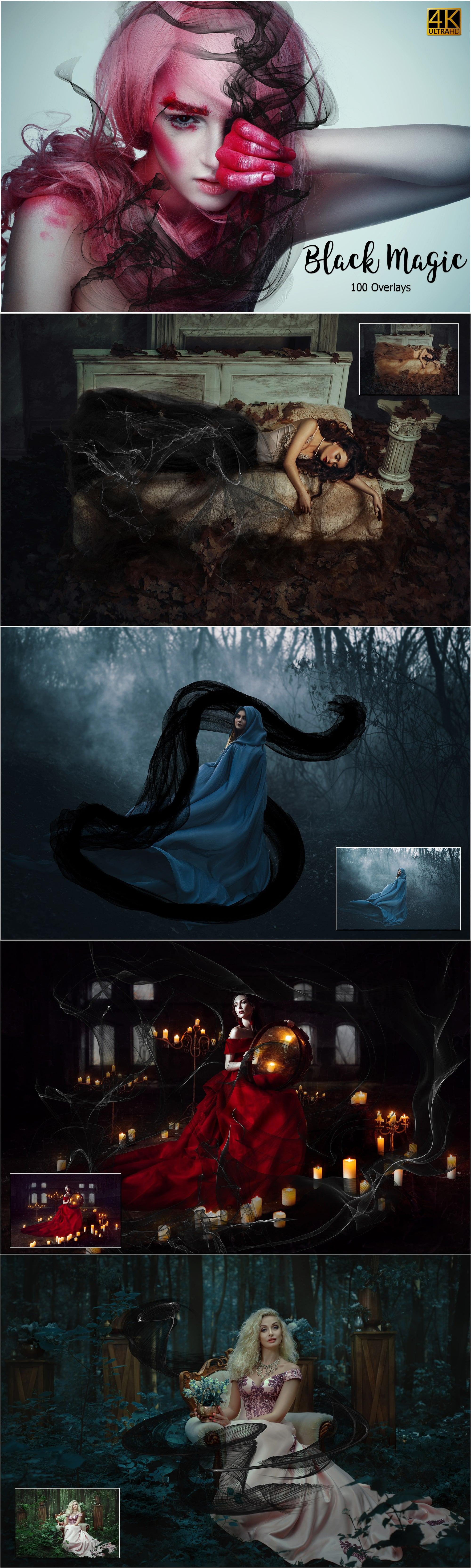 4491 Halloween Photo Effects in 2020. MEGA Halloween Photo Bundle - $ 15 ONLY - 04 Black Magic Overlays min