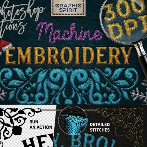 Machine Embroidery Photoshop Actions - $14 - 600 3 490x490
