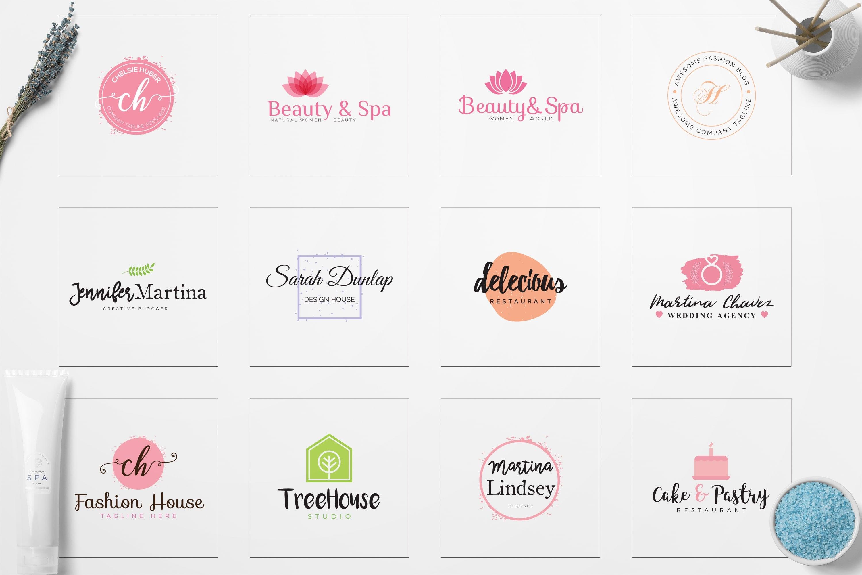 Feminine Logo: 52 Minimal Branding Girly Logos - E preview 04 min
