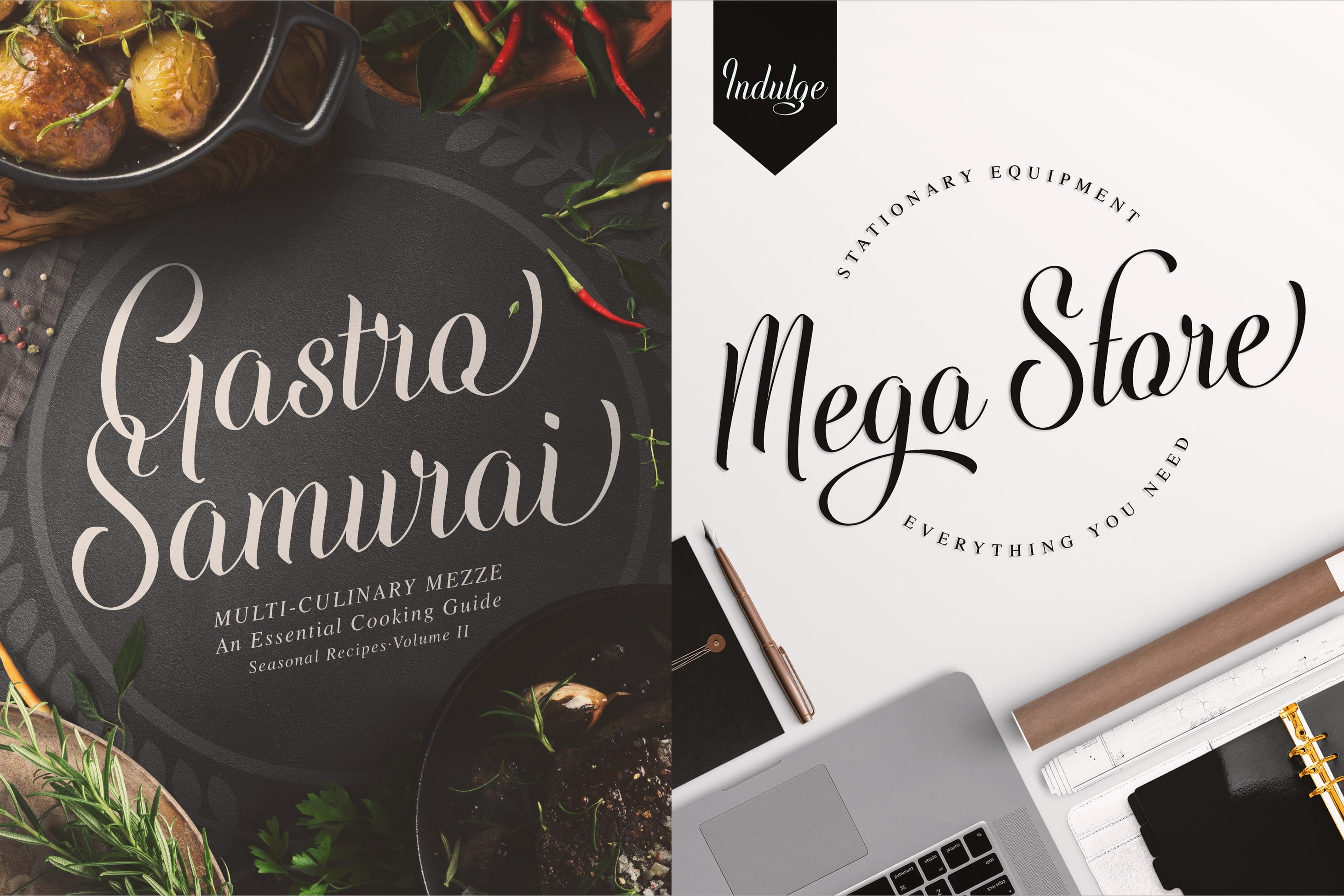 Simple Fonts - 33 Fonts in 13 Families Bundle - Indulge Script 5 min