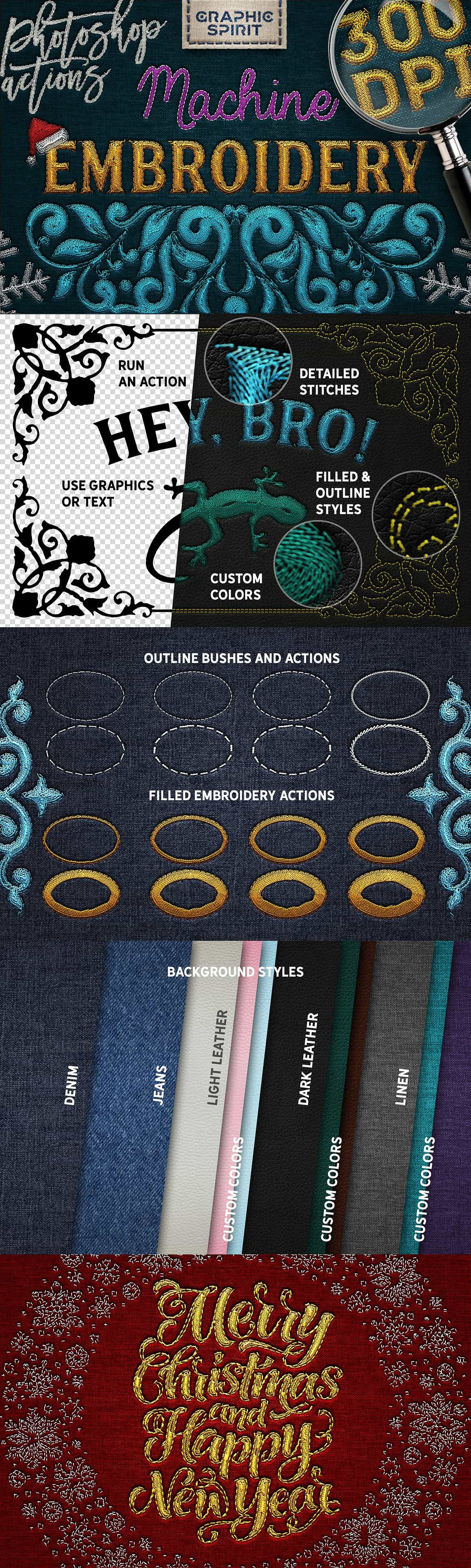 Machine Embroidery Photoshop Actions - $14 - embroidery photoshop actions0 min