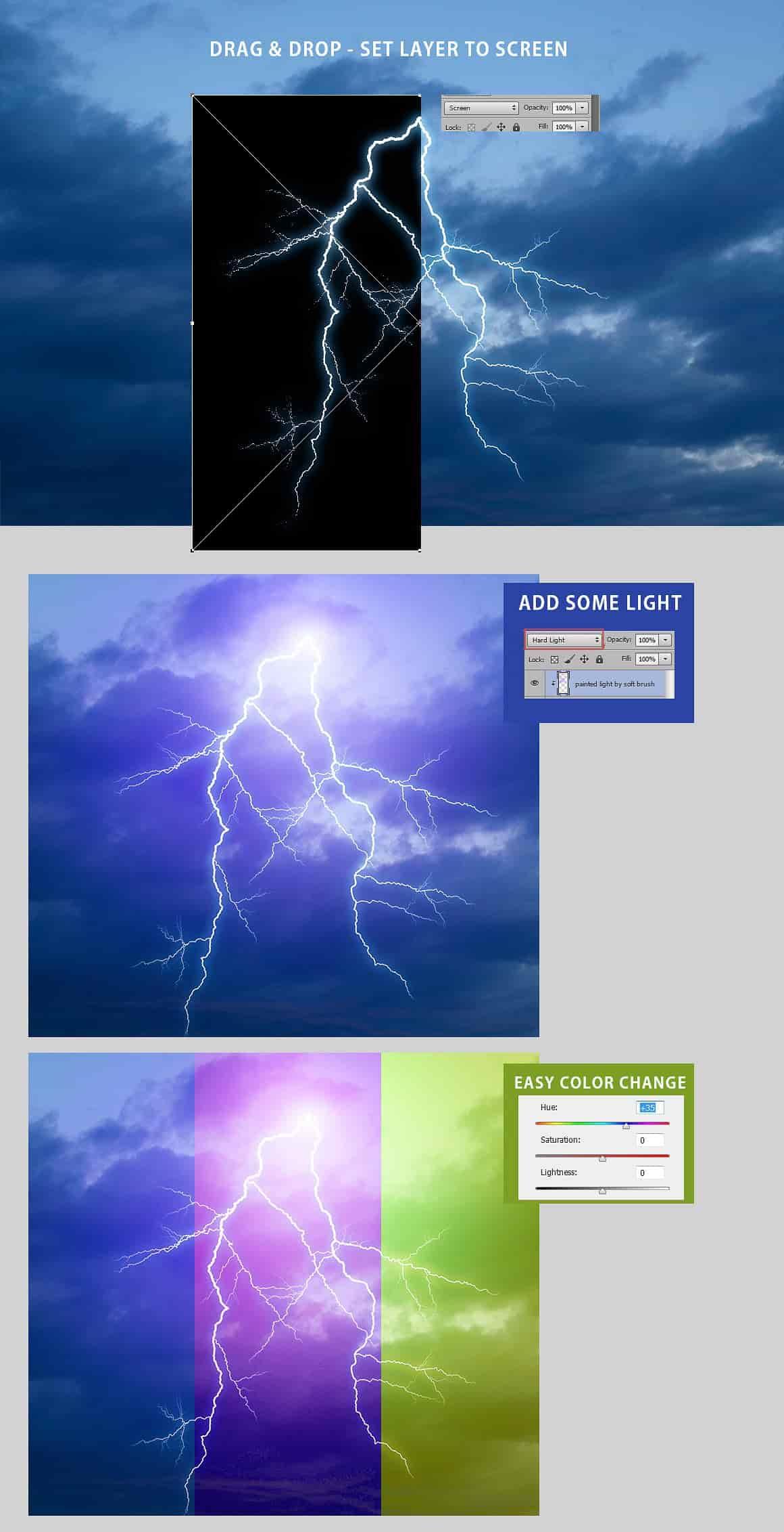 525 Overlays: Rain, Snow, Lightning - just $15 - prev lightning tutorial min