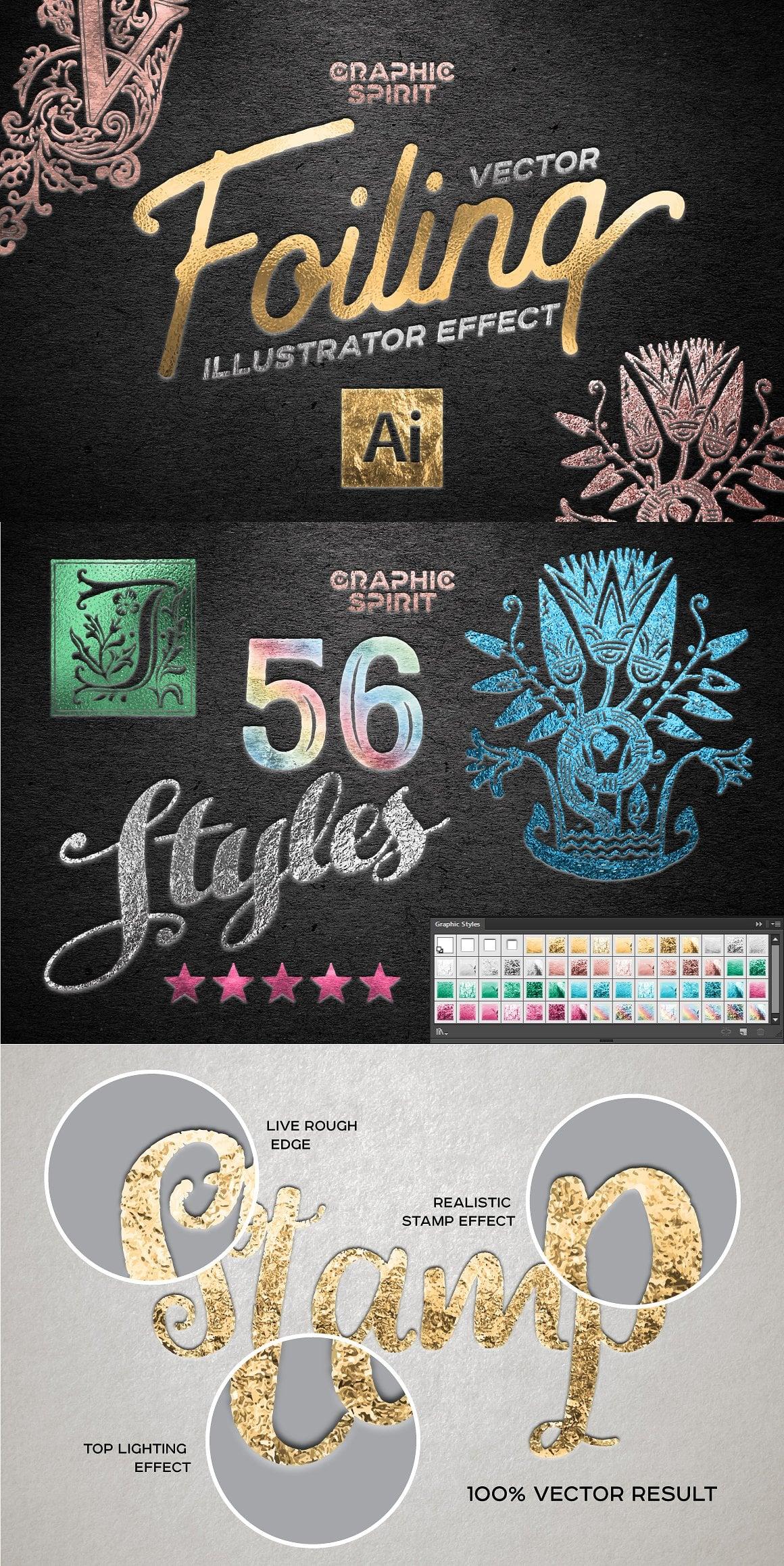 Vector Foil TOOLKIT For Illustrator - vector illustrator foiling effect 0