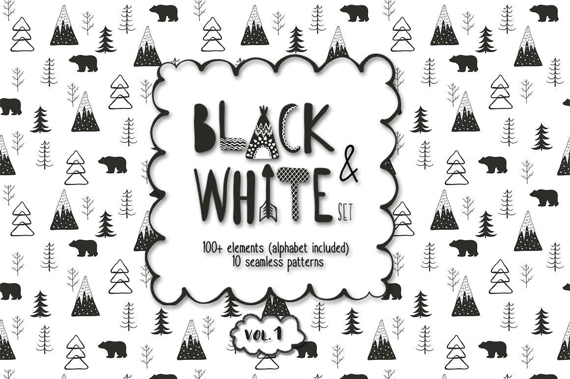 Black and White Set: 100 Minimal Elements & 10 Patterns - 1 1 1 2