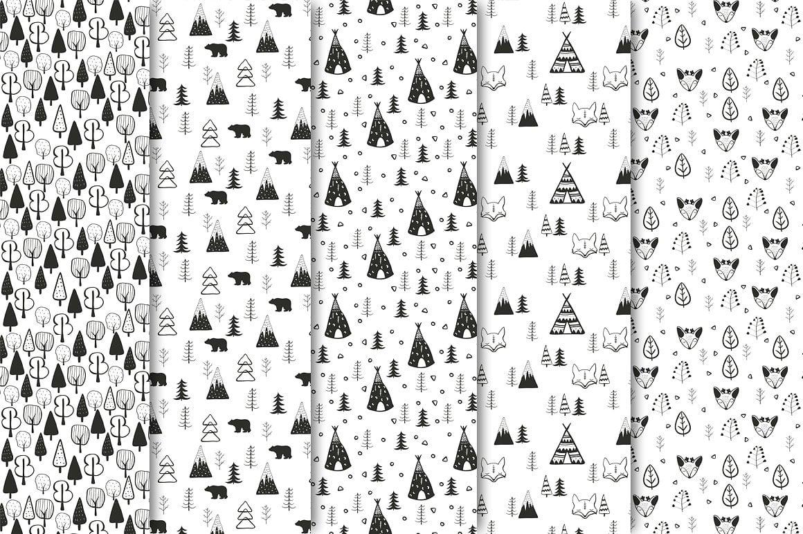 Black and White Set: 100 Minimal Elements & 10 Patterns - 2 1 6