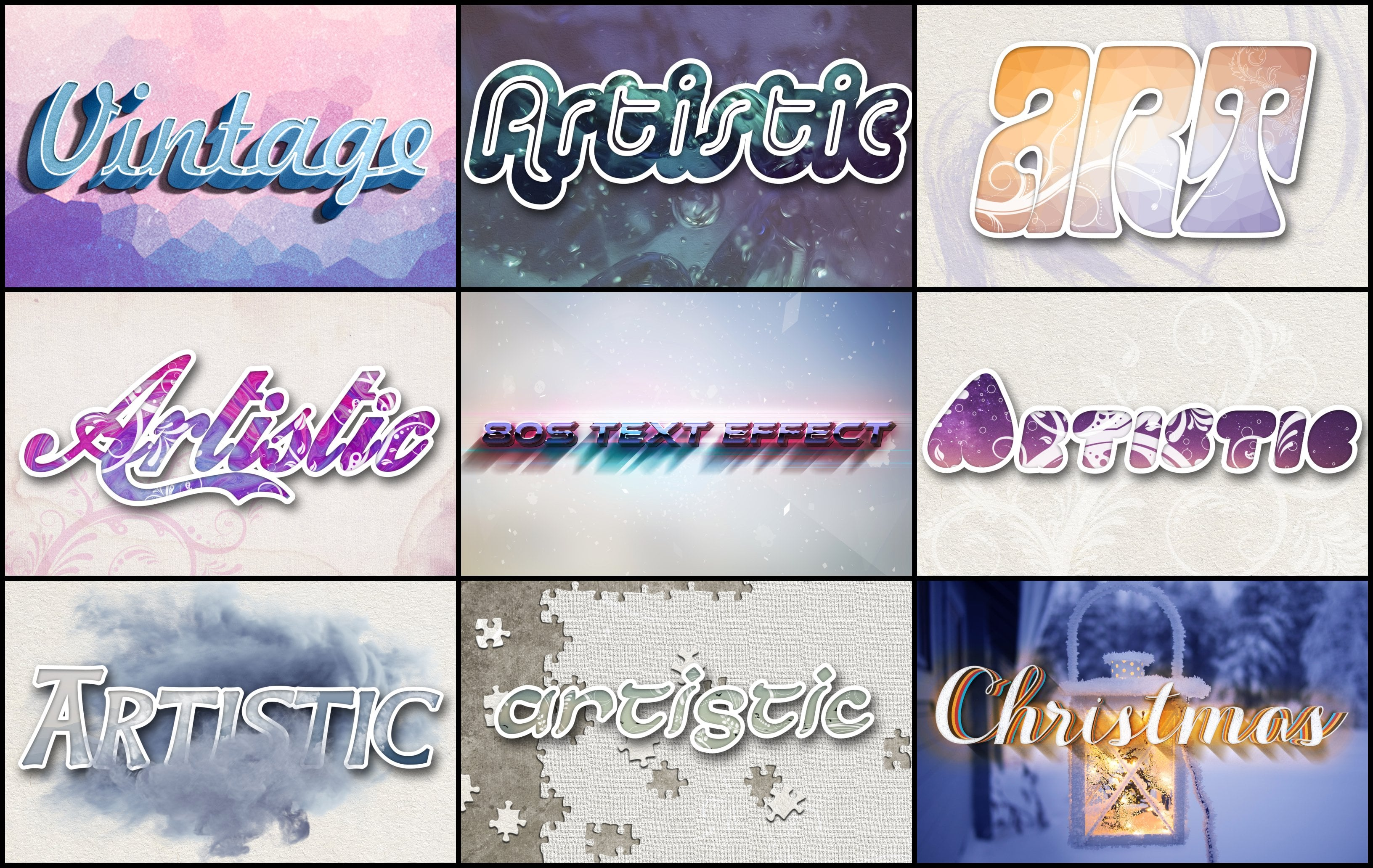 Photoshop Elements Text Effects - 40 Different Styles - 2 1