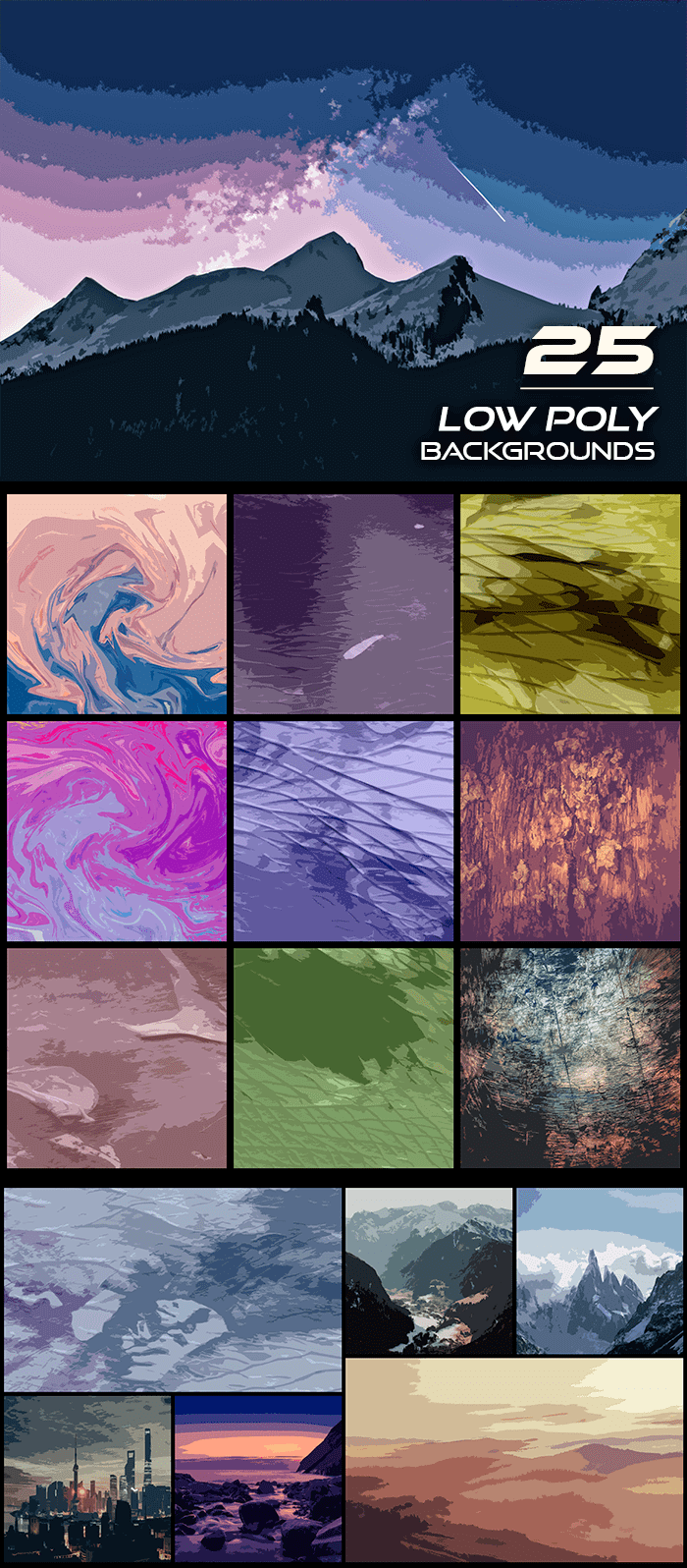2000+ High Resolution Digital Backgrounds Bundle - $29 - 25 Low Poly Backgrounds