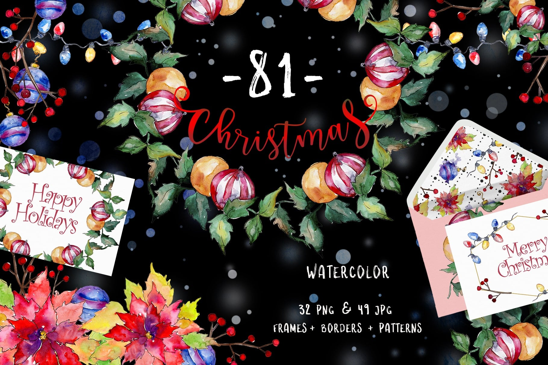 Christmas Happy Holiday PNG Watercolor Set - $11 - 2a8d0ed2ab1db4206664551c07f5075a resize min