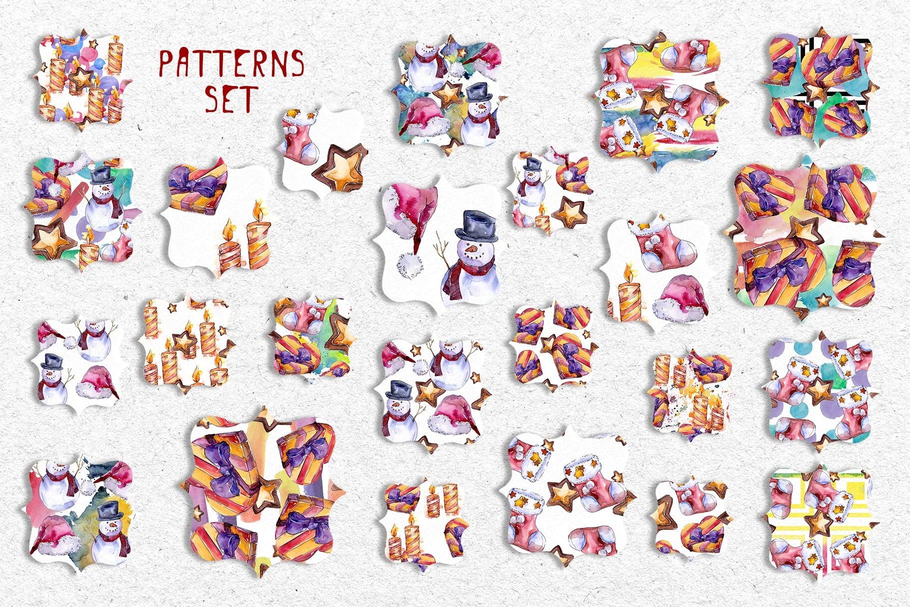 X-Mas PNG watercolor set