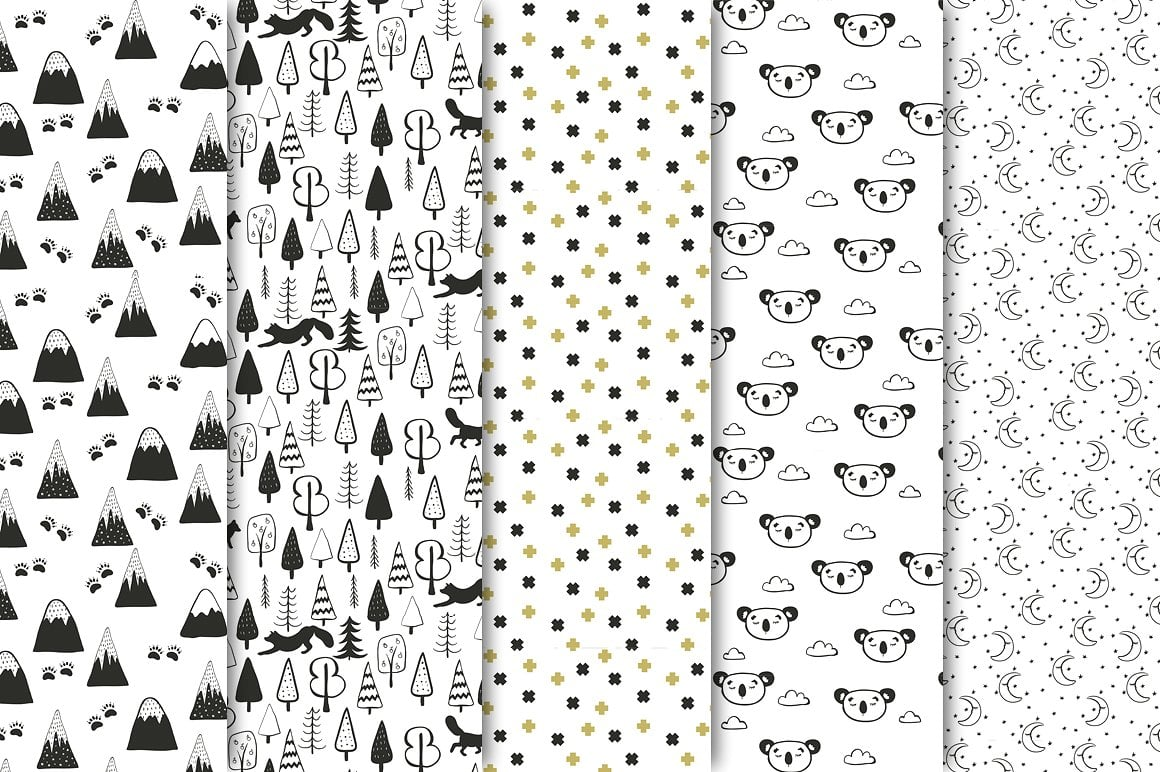 Black and White Set: 100 Minimal Elements & 10 Patterns - 3 1 6