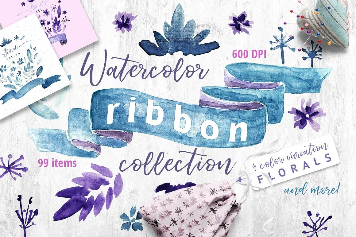 Watercolor Ribbon Collection 99 Elements