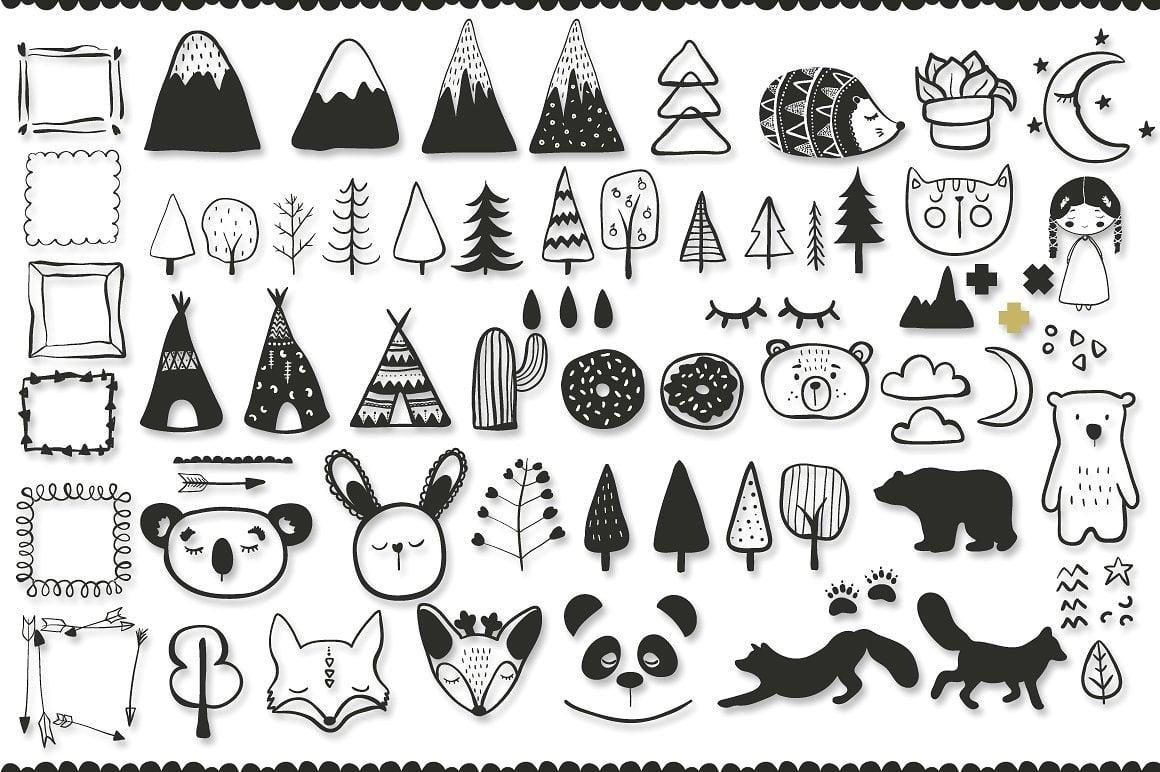 Black and White Set: 100 Minimal Elements & 10 Patterns - 6 1 3