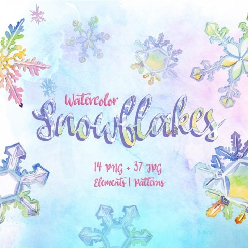 Nice snowflakes PNG watercolor set