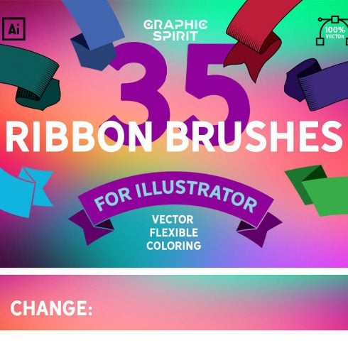 Vector Ribbon Brushes Illustrator - just $7 - 600 12 490x490