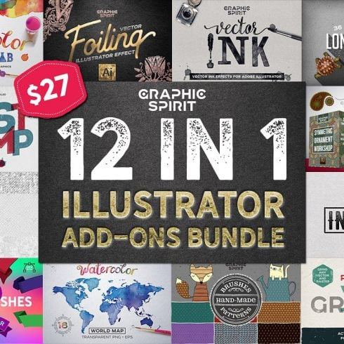 12 in 1 Adobe Illustrator Add-ons Bundle - just $27 - 600 15 490x490