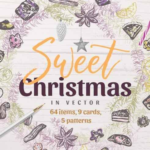 Sweet Christmas: Vector Hand-Sketched Set - just $7 - 600 16 490x490