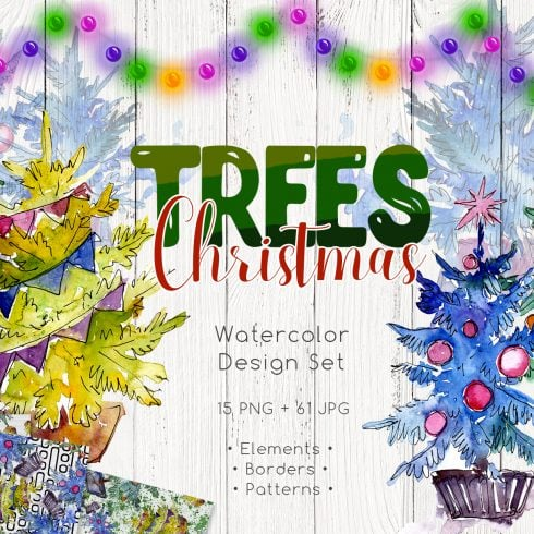 Trees Christmas PNG watercolor set