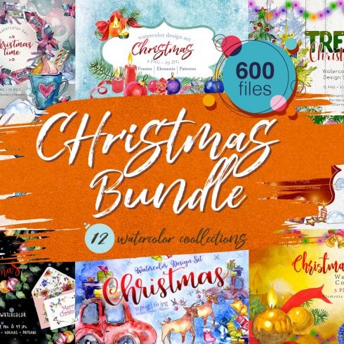 Huge Watercolor Christmas Bundle, 600+ files, 11 collections