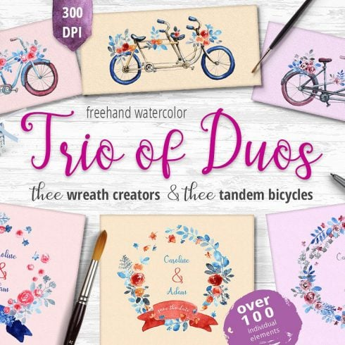 Trio of Duos: 3 Wreath Creators and 3 tandem bicycles