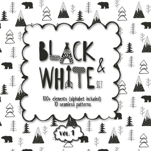 Black and White Set: 100 Minimal Elements & 10 Patterns - 600 40 490x490