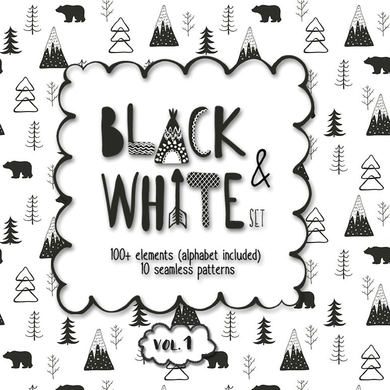 Black and White Set: 100 Minimal Elements & 10 Patterns main cover.