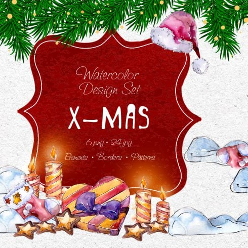 X-Mas PNG watercolor set - $11 ONLY - 601 18 490x490