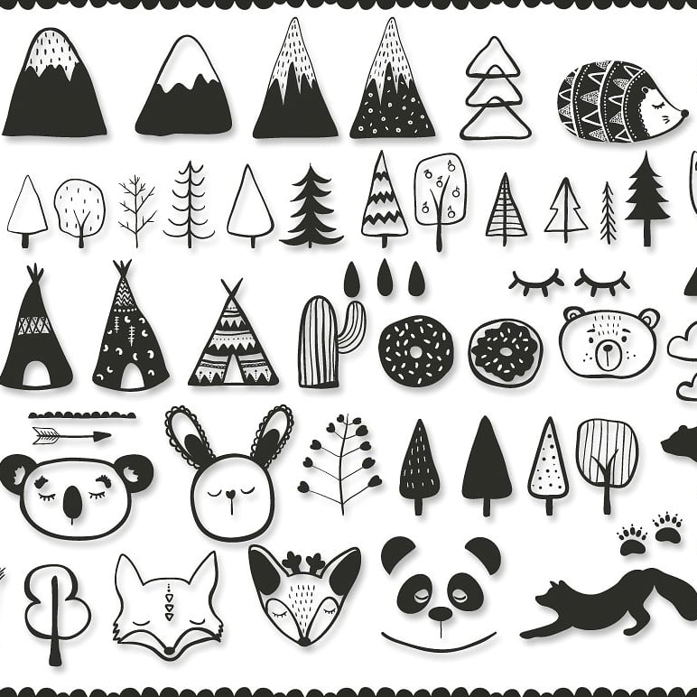 Black and White Set: 100 Minimal Elements & 10 Patterns cover image.
