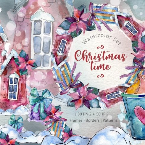 Christmas time PNG watercolor set
