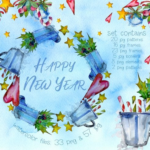 Winter holiday PNG watercolor set - $11 ONLY - 606 1 490x490