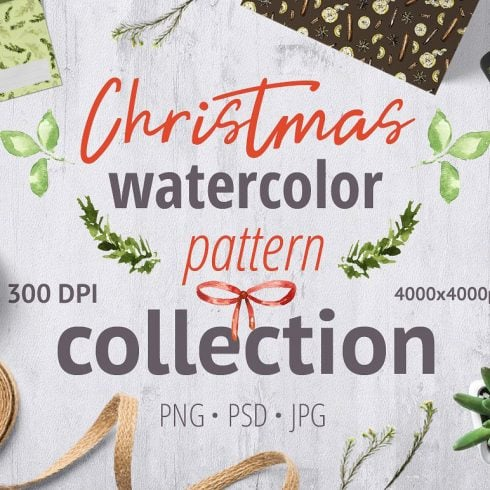 Christmas Watercolor Pattern Collection - $3 ONLY - 606 490x490