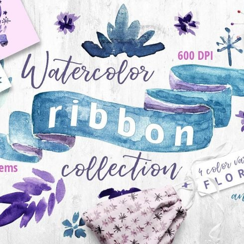 Watercolor Ribbon Collection 99 Elements - $12  ONLY - 608 490x490