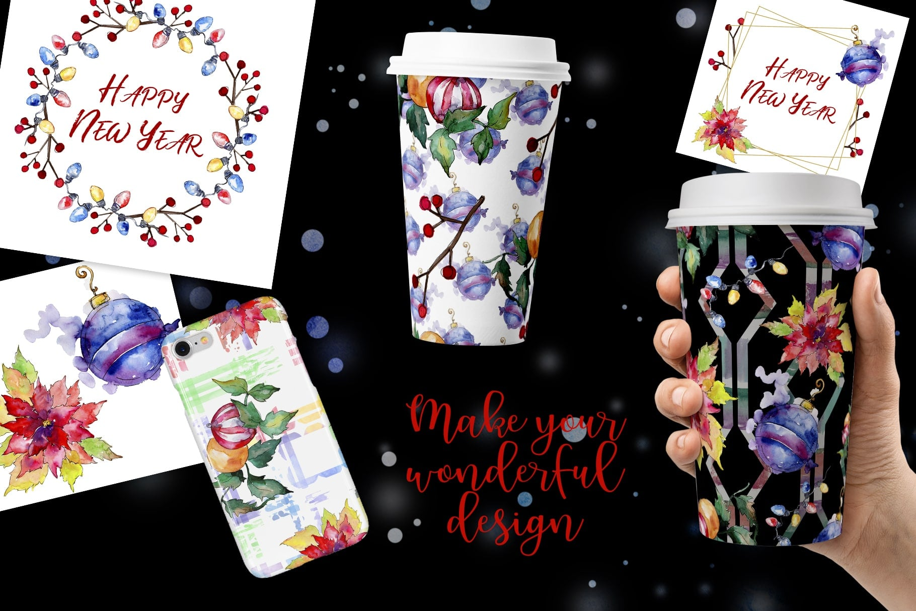 Christmas Happy Holiday PNG Watercolor Set