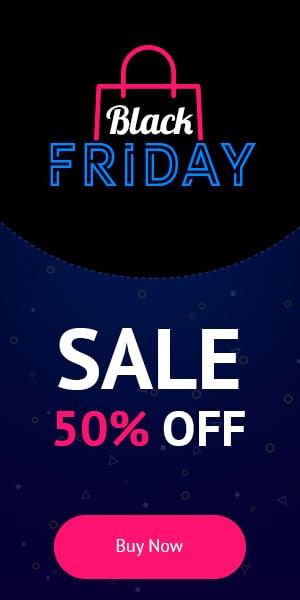 18+ Black Friday Banners: Google AdSense and  Social Media Banners - just $10 - BlackFriday 300x600 en
