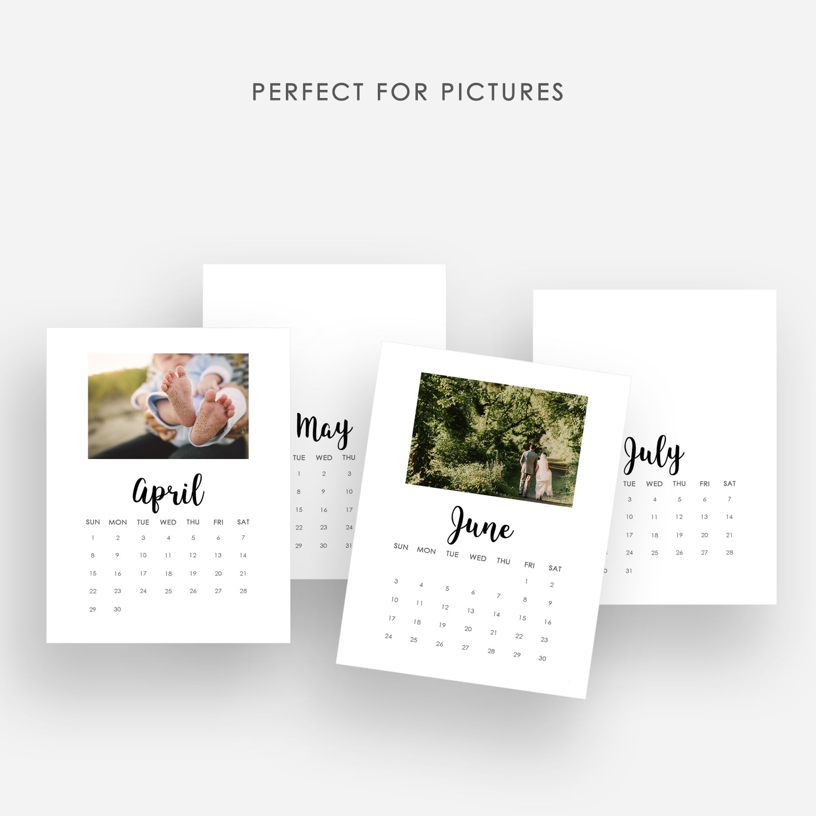2020 Printable Calendar Template - $9 ONLY - Display photos
