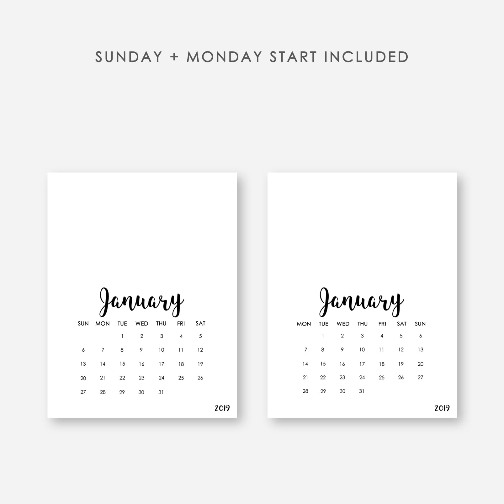 2020 Printable Calendar Template - $9 ONLY - Display sunday monday start copy
