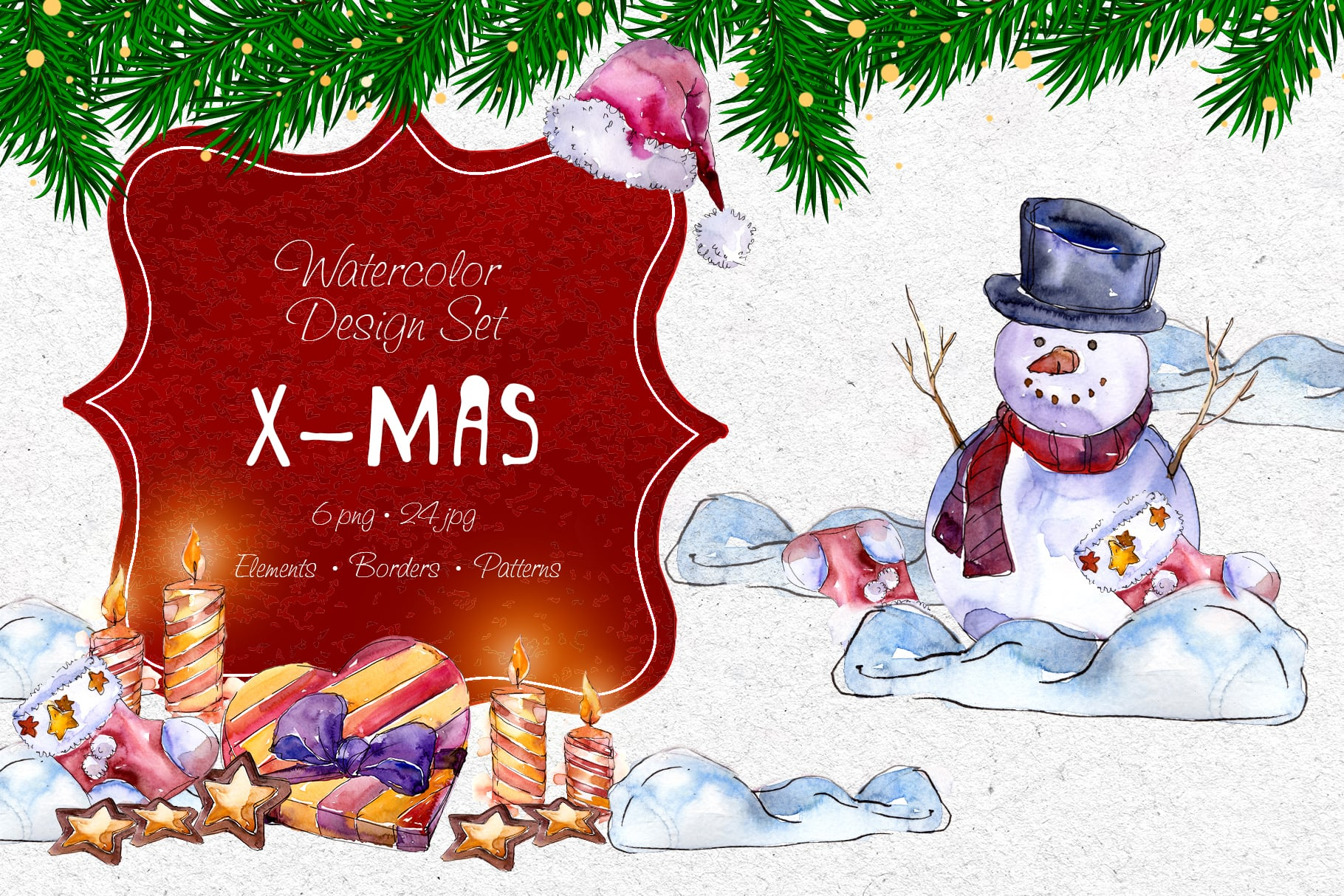 X-Mas PNG watercolor set - $11 ONLY - MYSTOCKS 4300