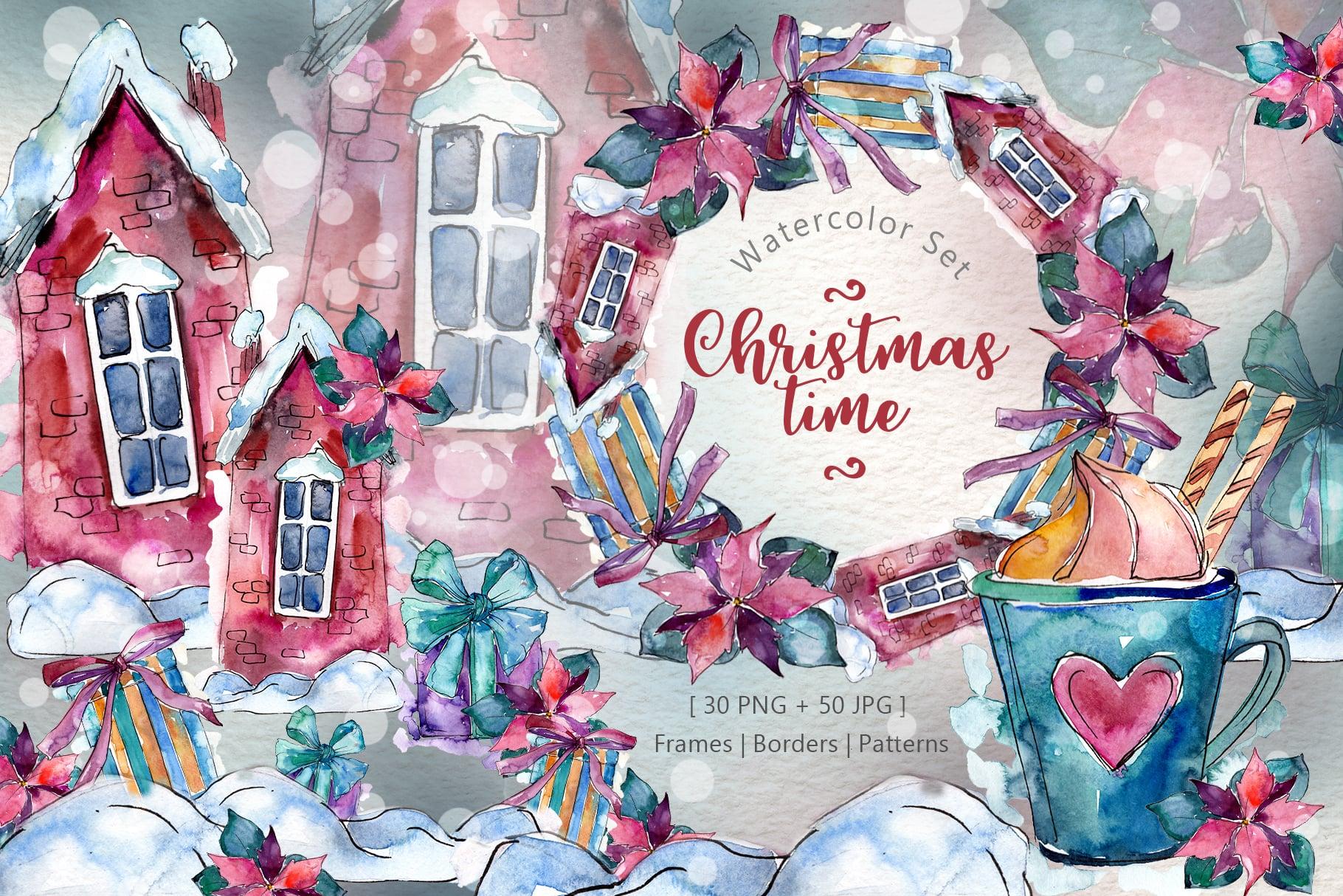 Christmas time PNG watercolor set - just $11 - MYSTOCKS 4371