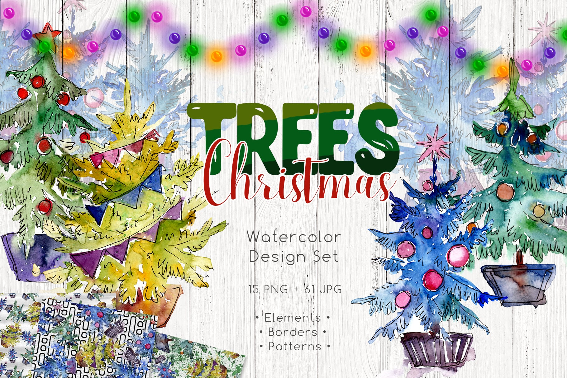Trees Christmas PNG watercolor set - $11 - MYSTOCKS 4377