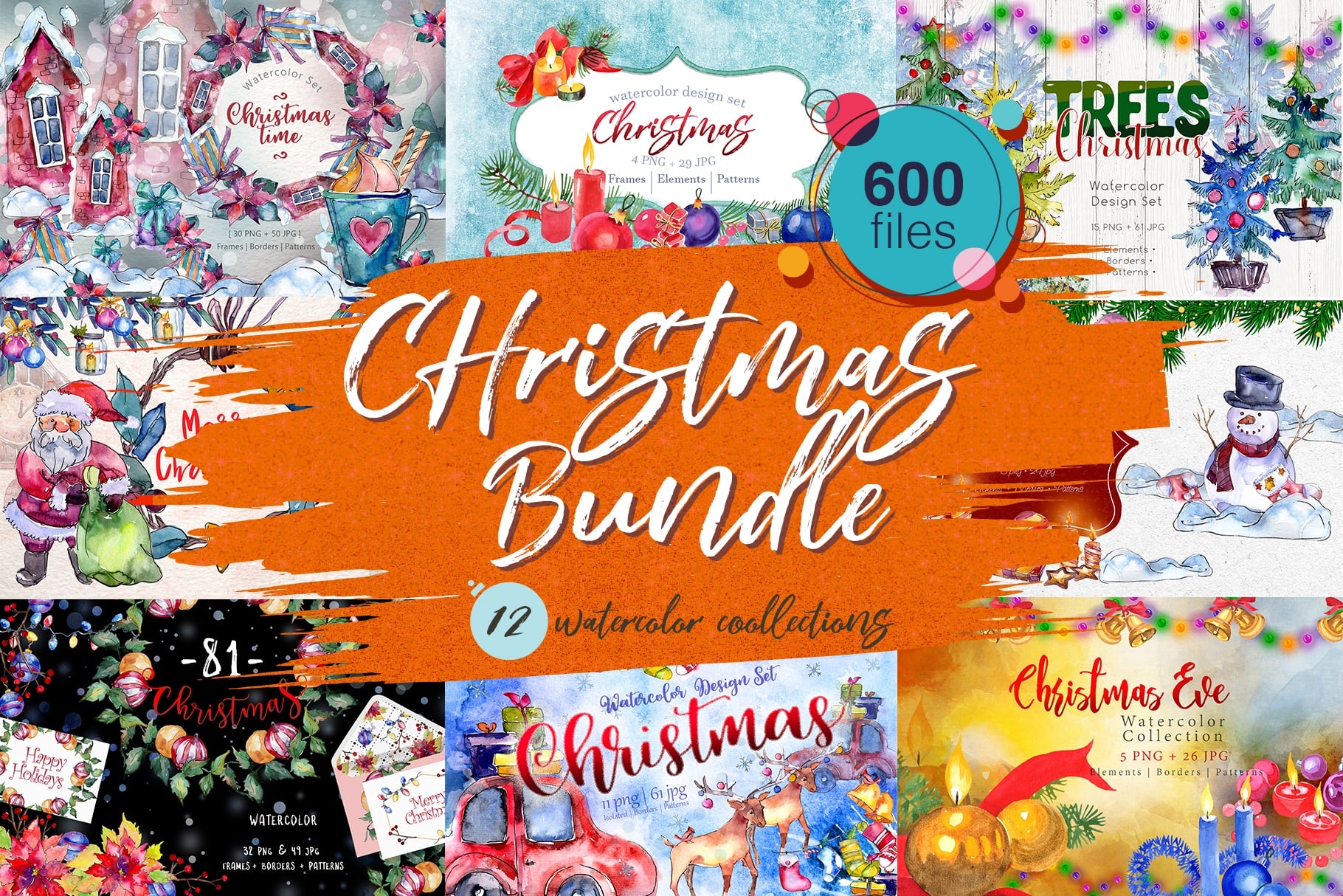 Huge Watercolor Christmas Bundle, 600+ files, 11 collections - MYSTOCKS 5011 cover 1