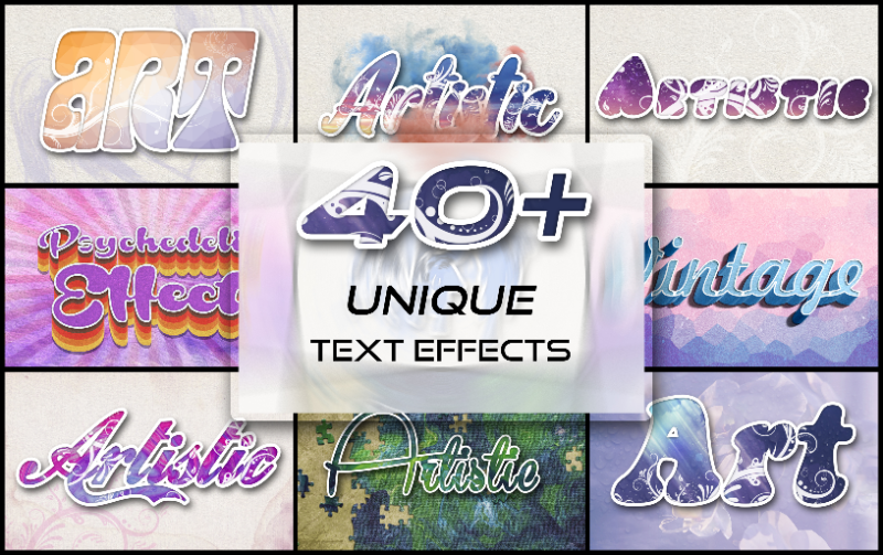 Photoshop Elements Text Effects - 40 Different Styles - Main Image 1
