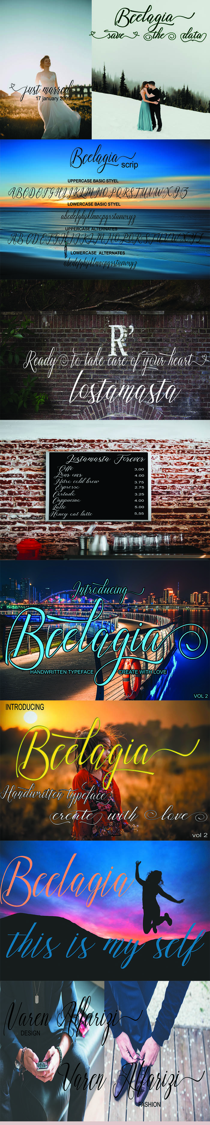 Hand Lettering Fonts - 5 Swirly Fonts for $10 Only - beelagia 3
